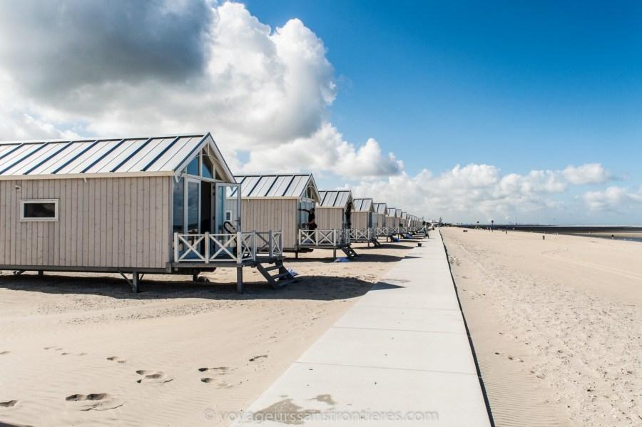 Maisons Haagse Strandhuisjes sur la plage de Kijkduin - La Haye, Pays-Bas