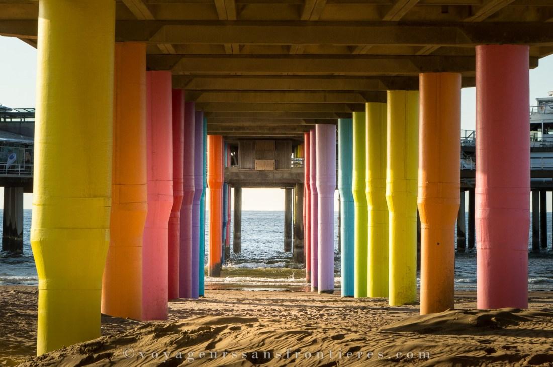 Colorful pillars at the Scheveningen beach - The Hague, Netherlands