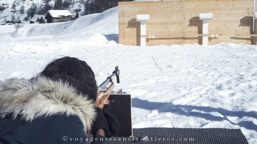 Initiation au biathlon à Evolène - Val d'Hérens, Suisse