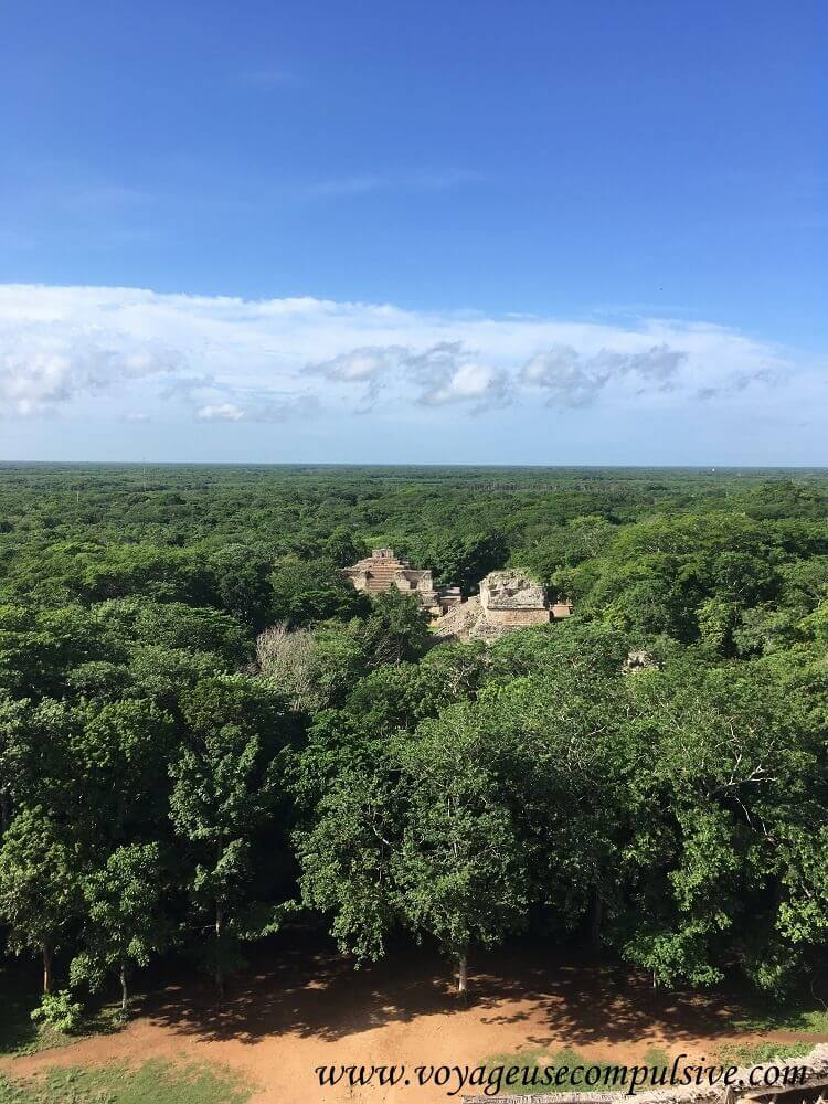 Vue sur les ruines d'Ek Balam et la jungle qui l'entoure, depuis les escaliers de la plus grande pyramide du site, La Torre.
