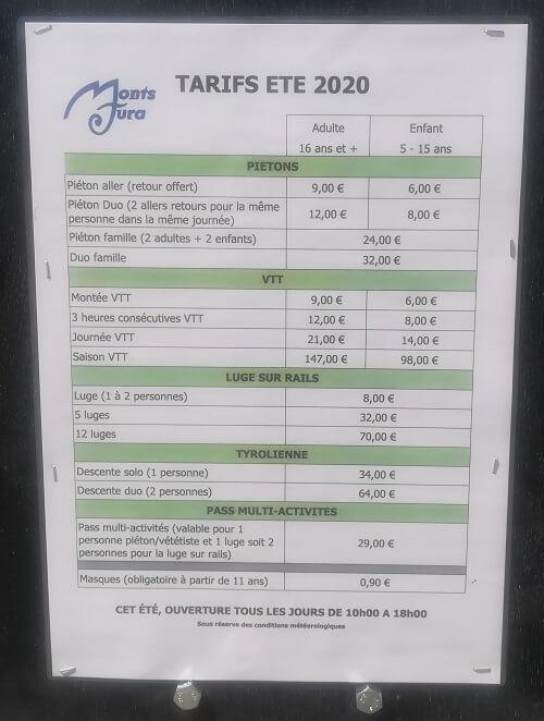 Les tarifs des activités proposées au col de la Faucille.