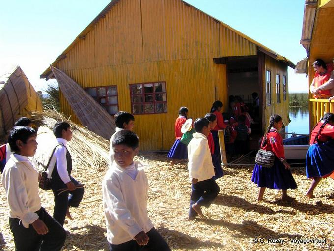 Aymara Indian Youth Returning To School Lake Titicaca Peru