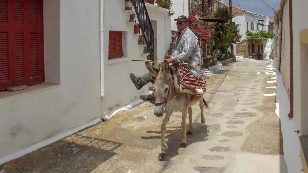 μετακίνηση με γαϊδουράκι στην Κέα