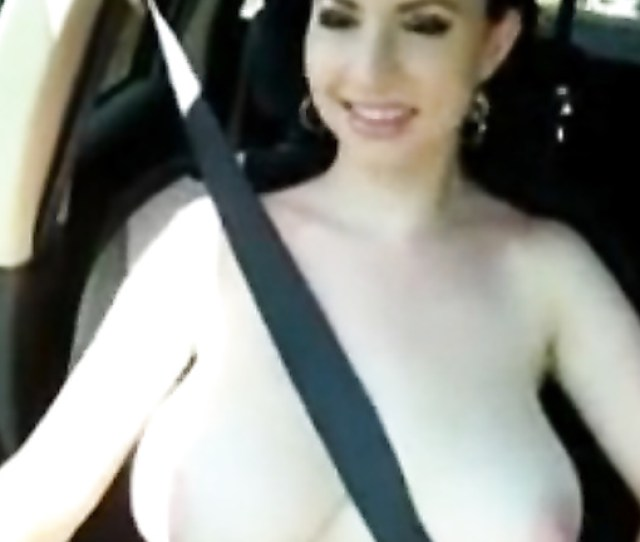 Huge Natural Boobs Girl Goes Topless For Country Ride