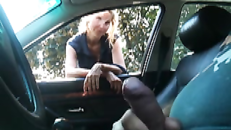 He Picks Up A Blonde Woman For A Quick Blowjob