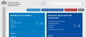 Página del servicio de inmigraciones y visas de Australia.