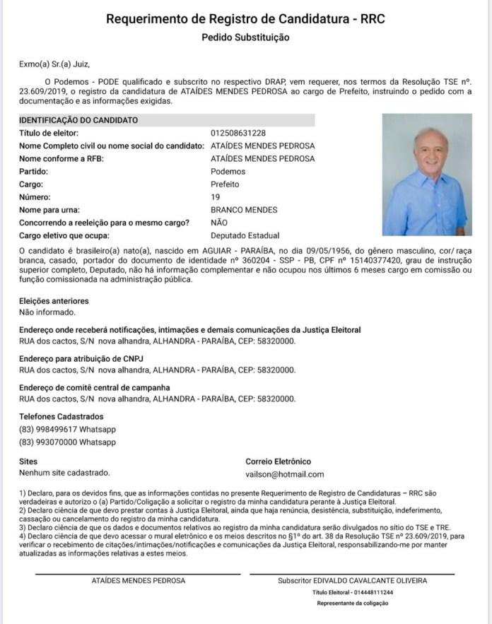 img 0048 - Deputado Branco Mendes é o novo candidato a prefeito de Alhandra