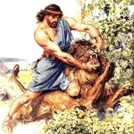 sanson mata a un leon