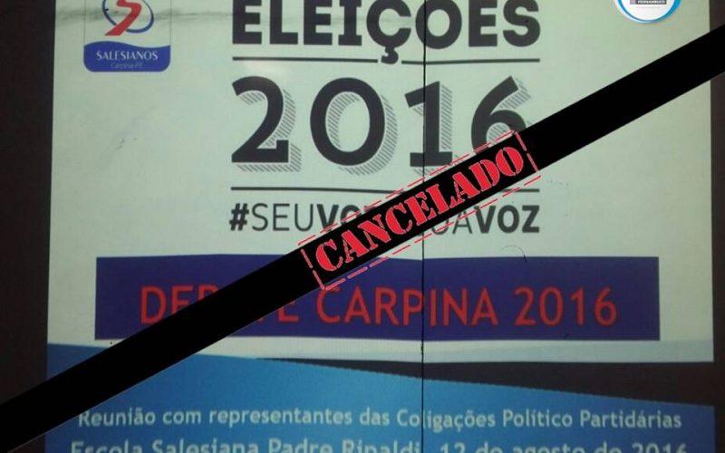 Carpina: Debate entre candidatos a prefeito é cancelado