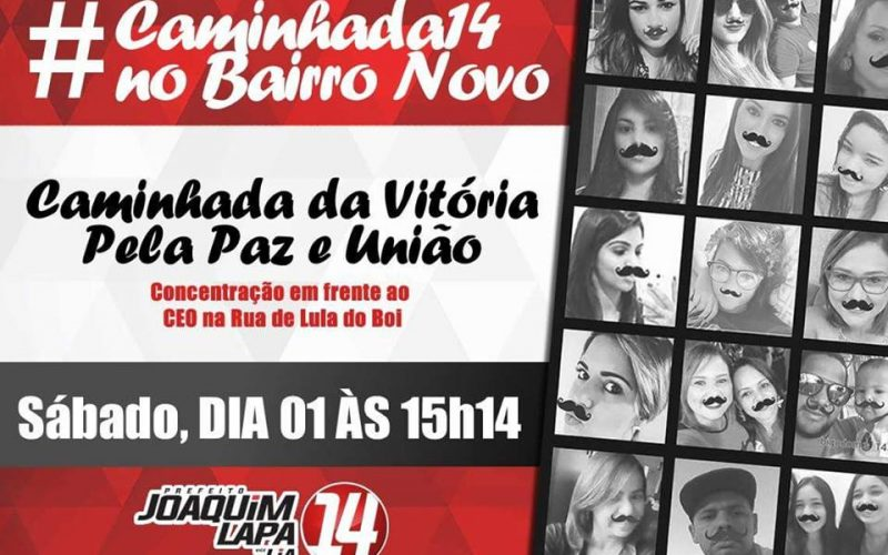 Joaquim Lapa realizará ultima caminhada na tarde deste sábado (1)