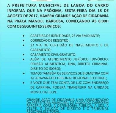Em Lagoa do Carro, Ação de cidadania acontece nesta sexta (18)