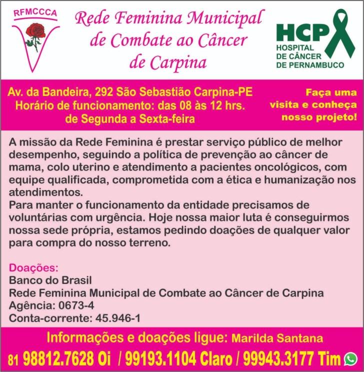 Resultado de imagem para rede feminina de combate ao cancer de carpina