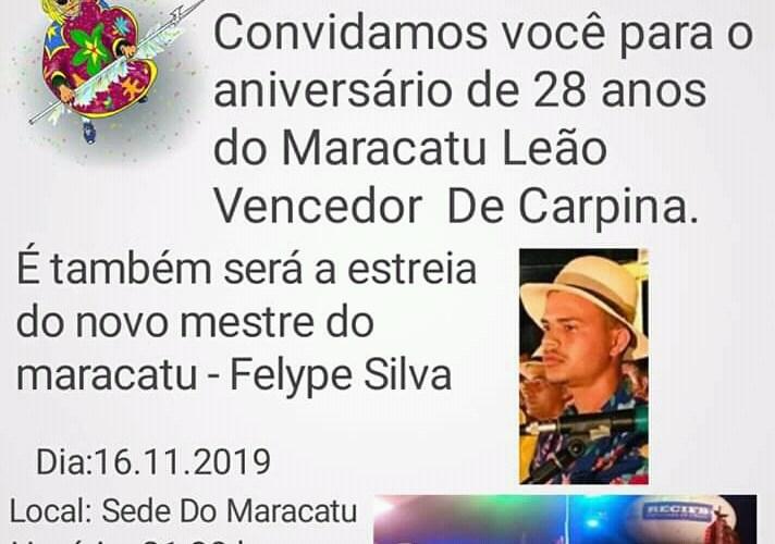 Maracatu Leão Vencedor de Carpina fará ensaio neste sábado (16) - Voz de Pernambuco
