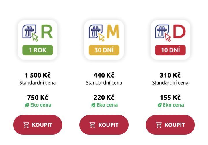 ceny elektronické dálniční známky Česko
