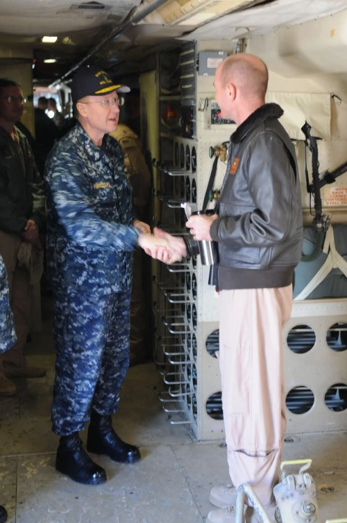 VADM Pandolfe says farewell to VP-4 Commanding Officer, CDR Brent Strong, after a successful tour of the P-3C Orion on Naval Air Station Sigonella. Photo taken by MCSA Menhardt.