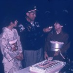 CAPT Walker, USN, ret. with O Club waitresses Samiko (left) and Komiko (right).