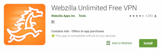 Webzilla Unlimited Free VPN For Windows