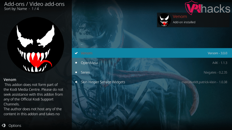 venom addon installed