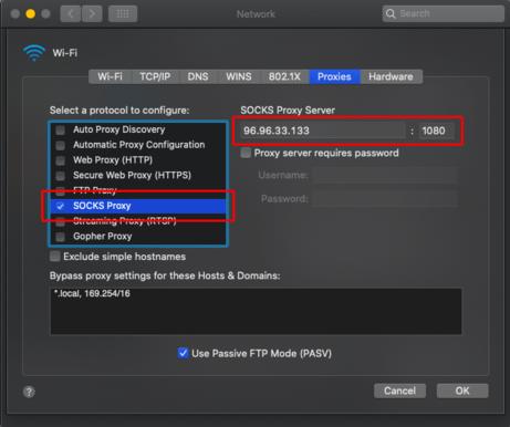 SOCKS5 Proxy Setup MAC Step 2