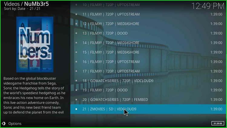 List of Movies on Numbers Kodi Addon