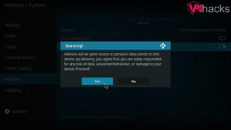 warning on kodi