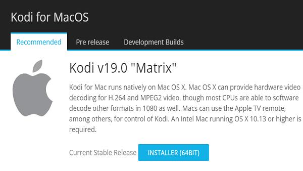 Use Kodi on MacOS