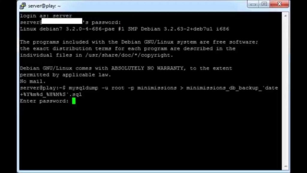 MySQL Backup through command line or SSH