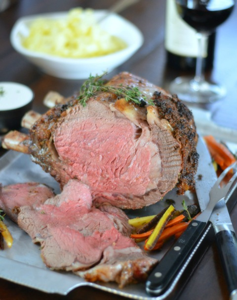 Sliced perfectly roasted prime rib