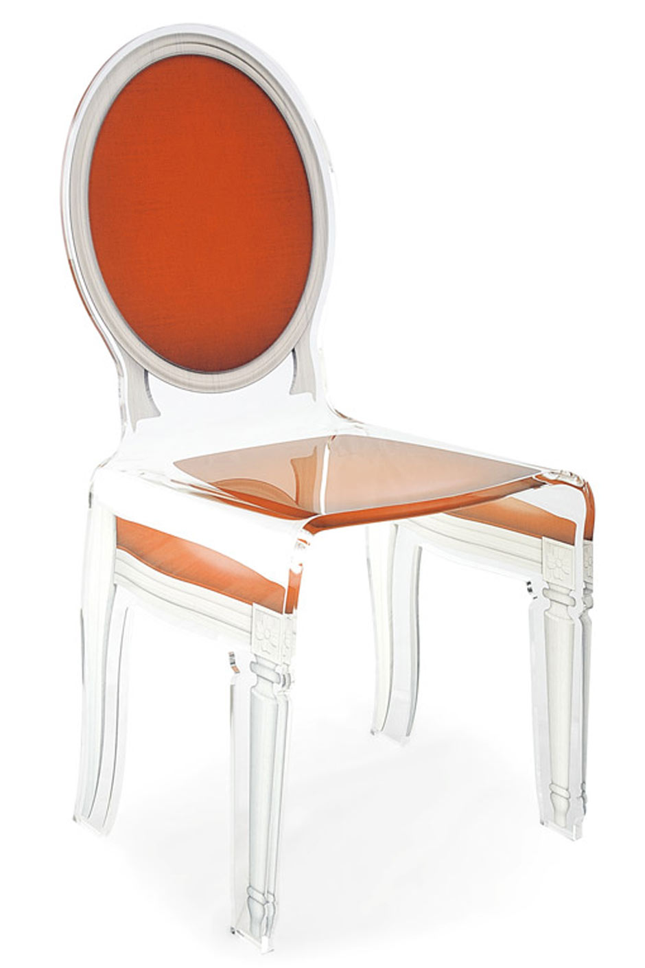 Chaise Mdaillon Baroque En Plexiglas Sixteen Motif Orange