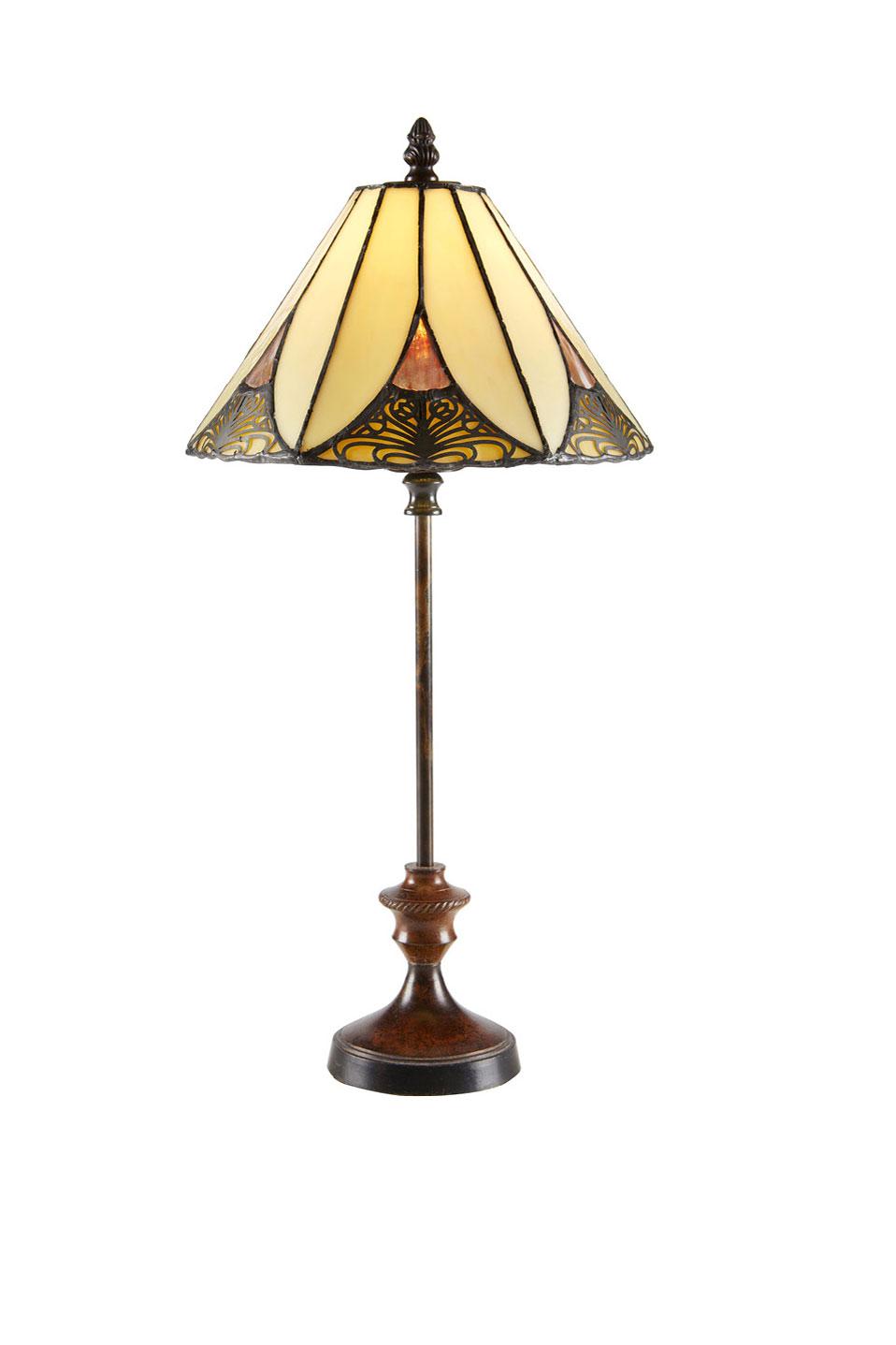 lampe abat jour conique en verre jaune jointures metalliques pied fin moule
