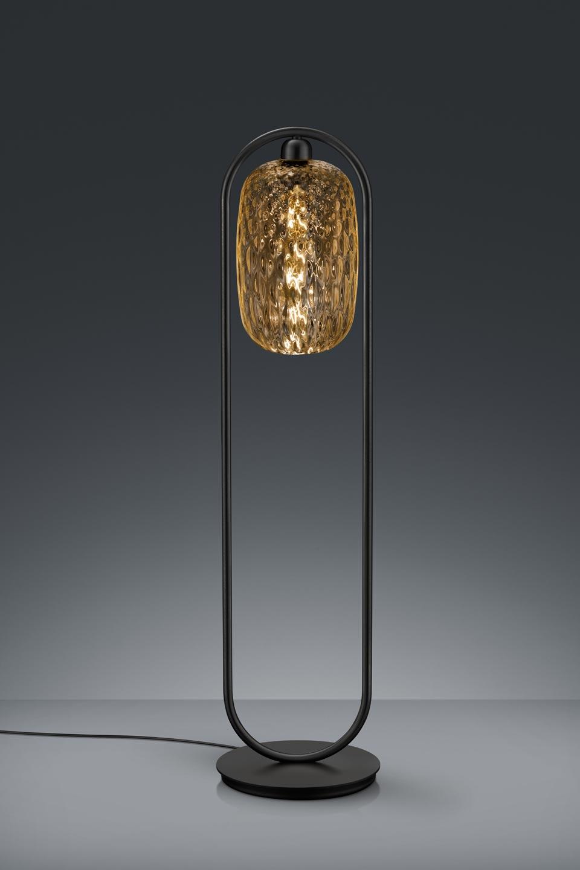Small Design Floor Lamp In Amber Glass And Black Metal Baulmann Leuchten Luxury Lightings Made In Germany Ref 19030131