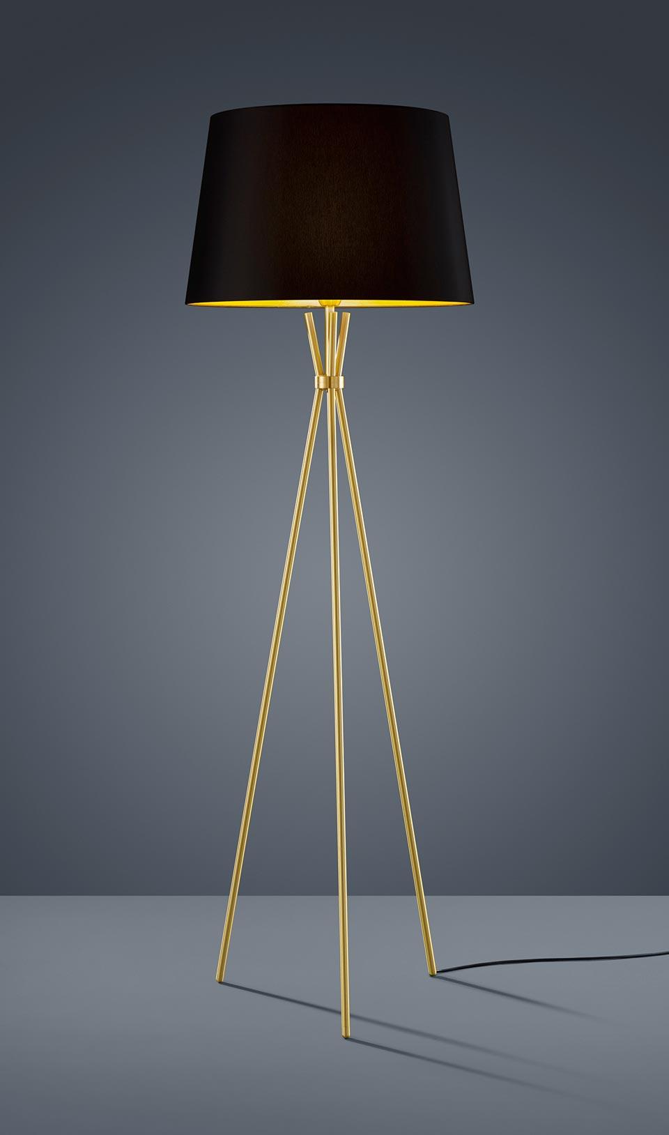 lampadaire abat jour en chintz noir interieur dore