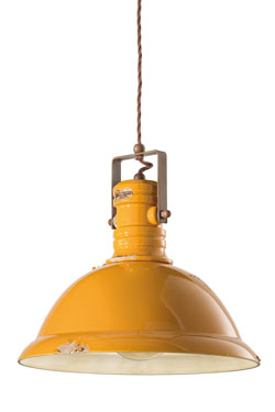 Yellow Industrial Pendant Light In Aged Ceramic Ferroluce Ceramic Industrial Lighting Ref 17110057