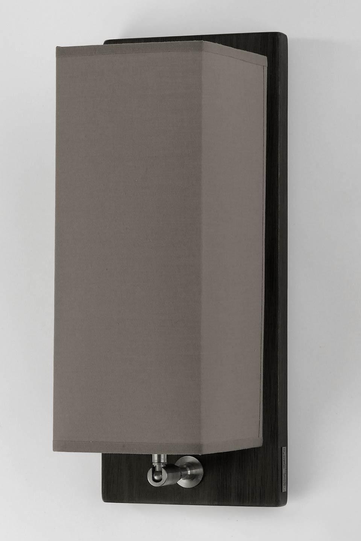applique en chene abat jour rectangulaire parties metalliques inox brosse