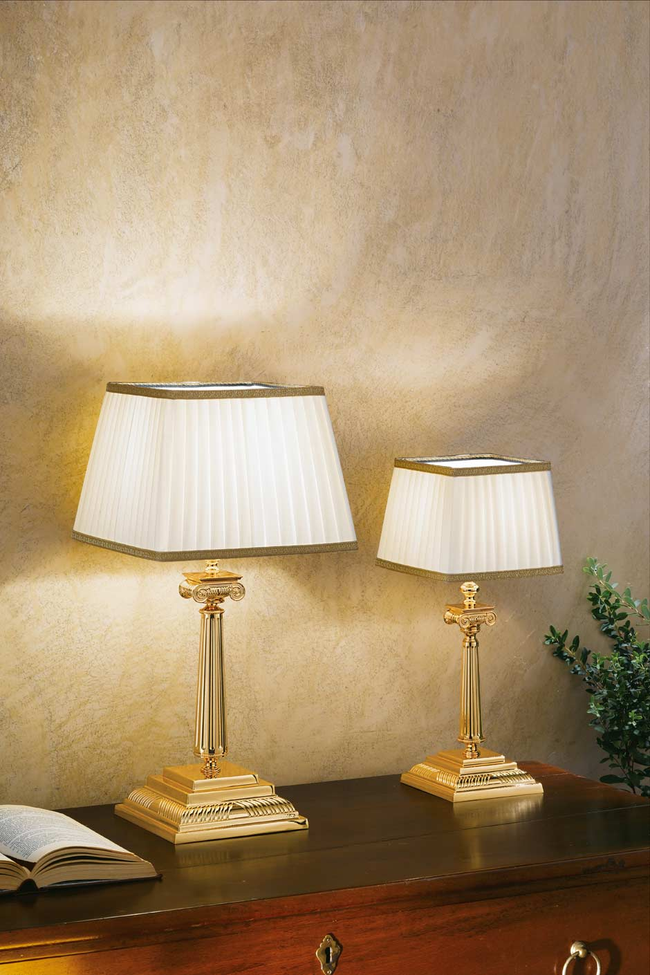 Table Lamp In Gold Plated Bronze With White Pleated Shade Trimmed With Gold Braid