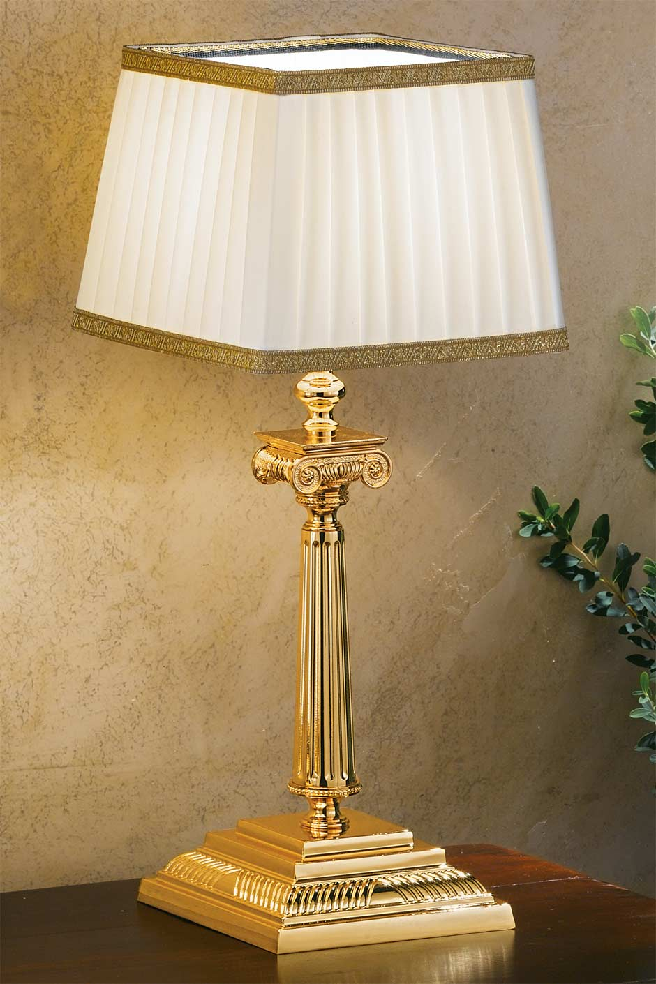 Small Gold Plated Bronze Table Lamp With Square Base