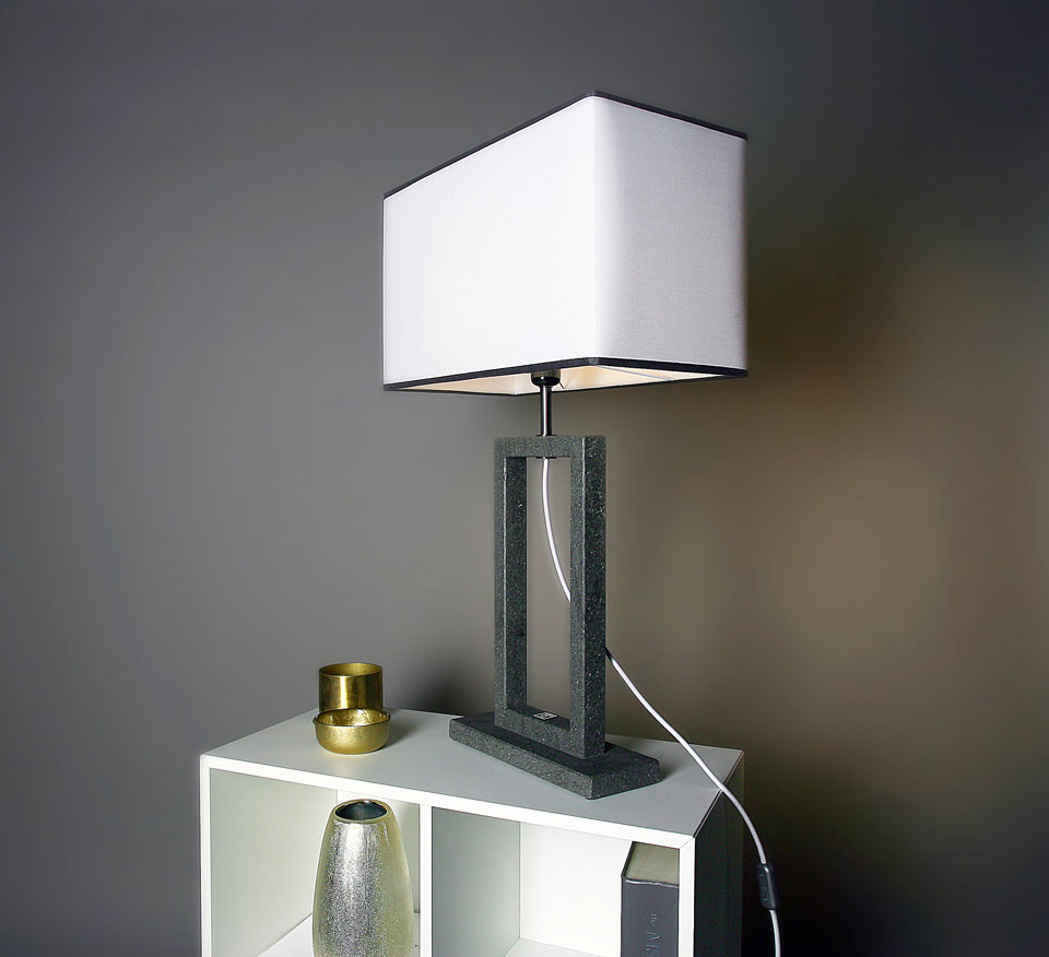 Contemporary Table Lamp With Two Tone Lampshade Medium Model Matlight Lampe De Table Made In Marble Ref 18060365