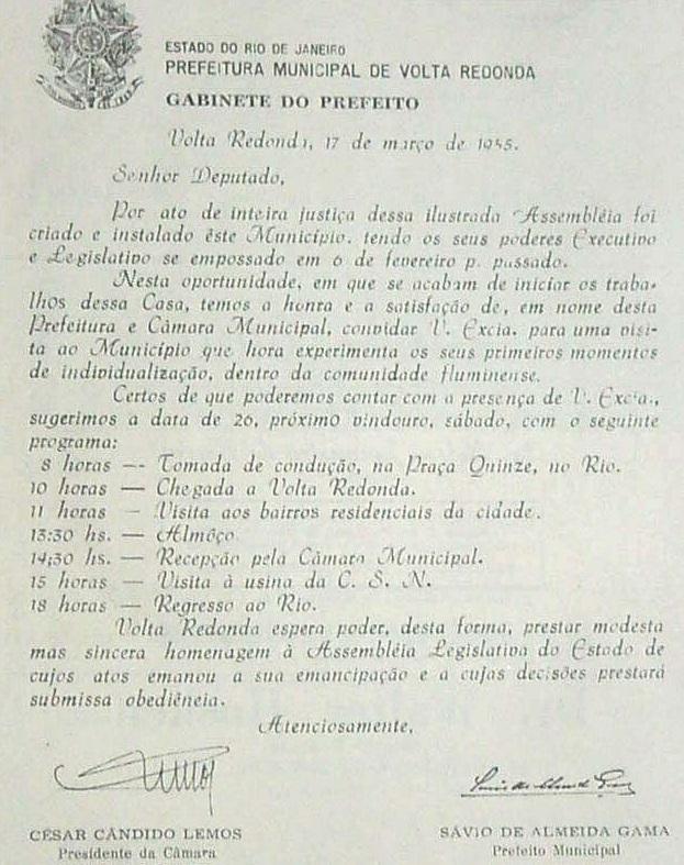 convite a emancipação de Volta Redonda