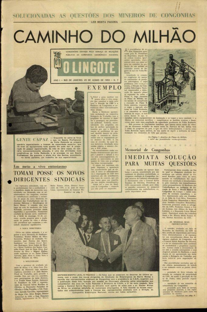Volta Redonda -OLingote Edição 7 – 25 de Junho de 1953 - Página 1