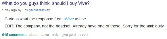palmer luckey reddit post regarding purchase of htc company vive
