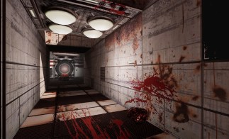 Dead Moon VR Game Review metal and grate hallway covered in rust and blood in Dead Moon VR