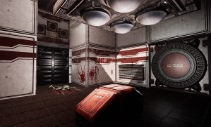 Dead Moon VR Game Review spaceship room with dead zombie and time lock chamber in Dead Moon VR