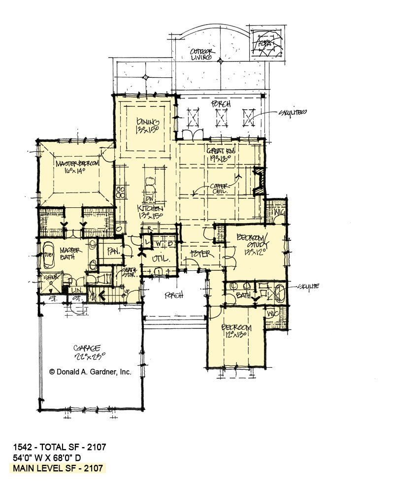 Rustic Mountain House Plans with Walkout Basement Lovely First Floor Of Conceptual House Plan 1542 House In 2019