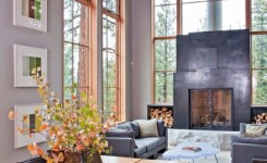 Fireplace Modernrustic Log House In 2019