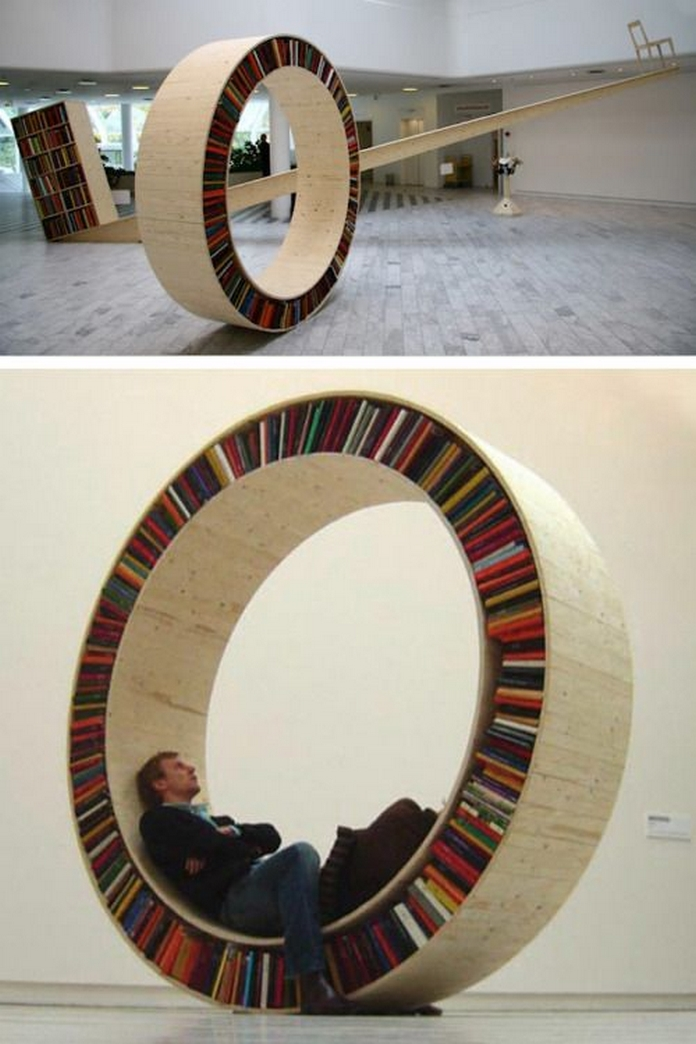 89 Models Beautiful Circular Bookshelf Design For Complement Of Your Home Decoration 18