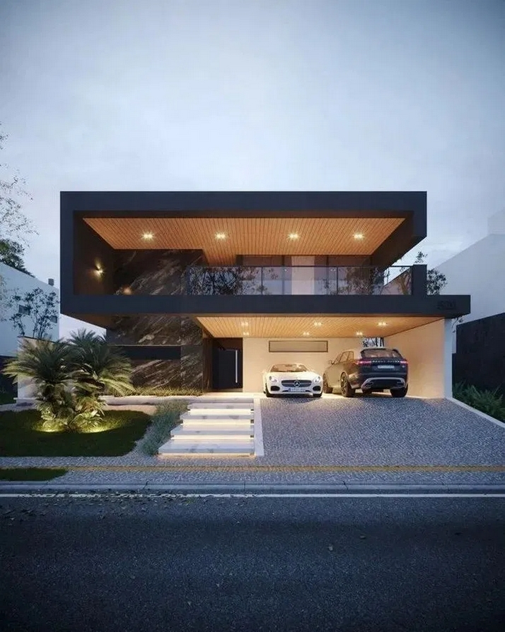 70+ Most Popular Modern Flat Roof House Design 56