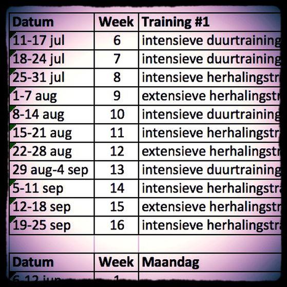 Halve marathon trainingsschema