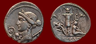 Caesar coin: Venus-tropaeum