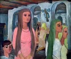 Dívky v italském kostele, 1930 (ol.pl.  60x75cm, sign. PD Lev 30)