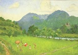 U Křivoklátu (olej na plátně, fixováno na kartonu, 50x70 cm, rámováno, signováno vlevo dole, datováno 1972)